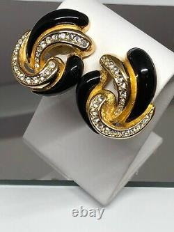 Vintage Gold Christian DIOR Black Enamel Rhinestone Crystal Clip On Earrings