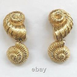 Vintage Gold tone CHRISTIAN DIOR Nautilus Large Clip on Earrings Signed Chr Dior