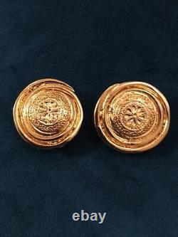 Vintage Gorgeous Gold Tone Yves Saint Laurent Clip On Earrings