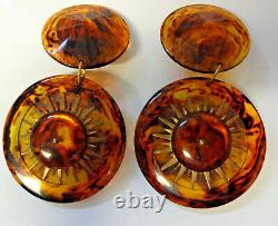Vintage Haute Couture Runway Chunky Lucite Faux Turtle Shell Clip On Earrings