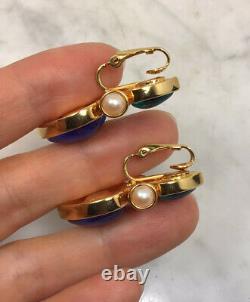 Vintage JOAN RIVERS Heart Blue Green Gripoix Faux Pearl Clip On Earrings Rare