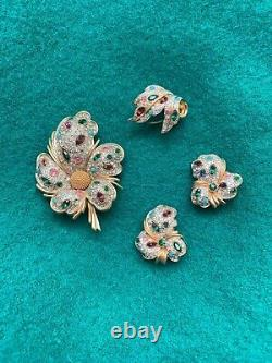 Vintage JOMAZ Rhinestone Crystal Gem Brooch, Earrings, Fur Clip, Demi Parure