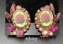Vintage Juliana Rose Intaglio Set Cameo Clip On Earrings Brooch Book Piece