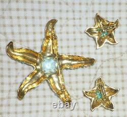 Vintage Kenneth J Lane KJL Whimsical Starfish Brooch & Clip Earrings Set