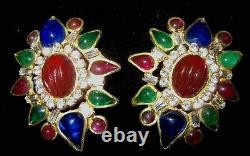Vintage Large Rare French Maison Gripoix Poured Glass Rhinestone Clip Earrings