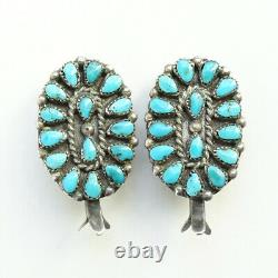 Vintage Native American Petit Point Turquoise Squash Blossom Clip Earrings Old