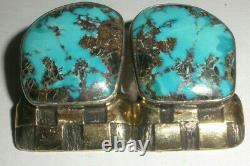 Vintage Navajo DM Begay sterling silver 14k gold large turquoise clip earrings