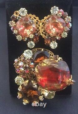 Vintage Original By Robert High End Cluster Rhinestone Brooch Clip Earring Set