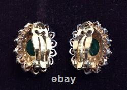Vintage PANETTA Gold Tone Faux Emerald Green Rhinestone Clip On Earrings