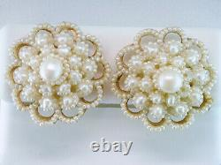 Vintage Pearl Clip Earrings 14K Yellow Gold Antique Victorian