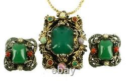Vintage Selro Selini Ornate Antique Gold Tone Pendant Clip Earrings Glass Stones