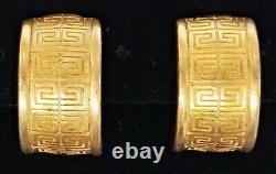 Vintage Signed GIVENCHY Matte Gold Tone LOGO Huggie Hoop Clip Earrings 3/4