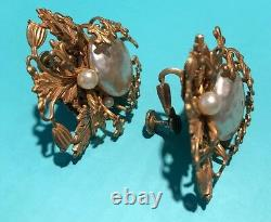 Vintage Signed Miriam Haskell Earrings Gold Ornate Baroque Pearl Clip Screw