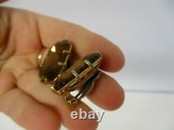 Vintage Signed Schiaparelli Dramatic Faceted Amber Crystal Clip On Earrings