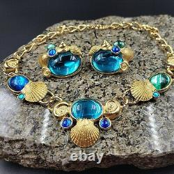 Vintage Signed Trifari Set Necklace Clip Earrings Kunio Matsumoto Blue Cabochon