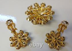 Vintage Signed Weiss AURORA BOREALIS Rhinestone Pin Brooch Earrings Clip On Set