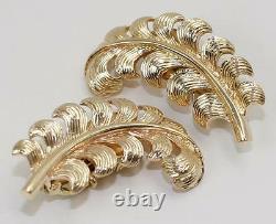 Vintage Tiffany & Co 14K Yellow Gold Fern Leaf Clip On Earrings