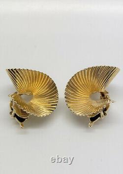 Vintage Tiffany & Co. 14k Yellow Gold Swirl Fan Clip Earrings