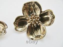 Vintage Tiffany & Co Large Dogwood Earrings Clip Sterling Silver Designer Signed