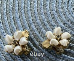 Vintage Trifari Baby Tooth Brooch and Clip on earrings