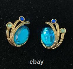 Vintage Trifari Blue, & Green Gripoix Glass Clip On Earrings
