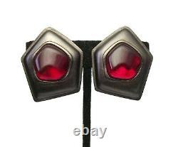 Vintage YSL Yves Saint Laurent Clip on Earrings Big Gunmetal Red Gripoix Glass