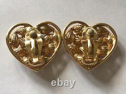 Vintage YSL Yves Saint Laurent Crystal Gold Brass Heart Clip-On Earrings