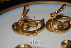 Vintage Ysl Yves St Laurent Couture Pin Clip Earrings Set Scroll Gold Satin Tone