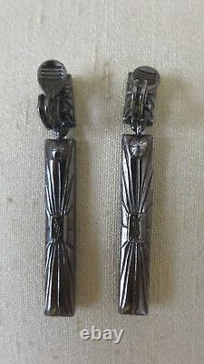 Vintage Yves Saint Laurent Ysl Earrings Black Rhinestone Clip On Over 2 Inches
