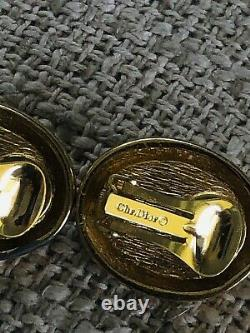 Vintage christian dior emerald cabochon gripoix glass clip-on earrings Rare Chr