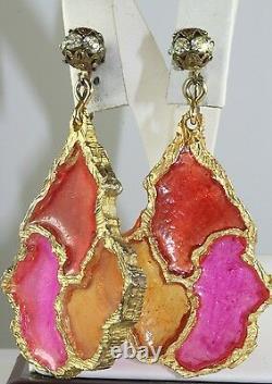 Vtg 1960's Or 1970's Huge Runway Dangling Hot Pink Orange Lucite Clip Earrings