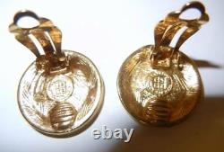 Vtg 70s Givenchy Front Logo Big Medallion Gold Tone Clip On Earrings Chunky Rare