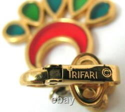 Vtg Crown TRIFARI Gold Stained Gass Earrings Plique A Jour Clip On Dangle Red