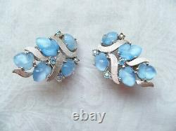 Vtg Crown Trifari A. Philippe blue moonstone fruit salad rhinestone clip earring