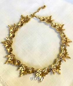 Vtg. Crown Trifari Two Tone Leaf Necklace & Matching Clip On Earrings
