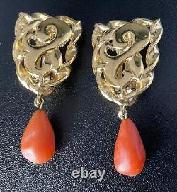 Vtg Designer Givenchy Coral Beaded Clip on Earrings Gold Runway Signed Jewelry