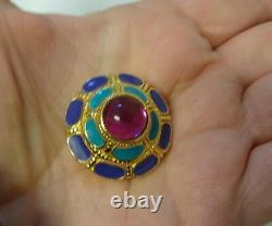 Vtg Egyptian Mogul Gripoix Cabochon Pink Rhinestone Enamel Clip On Earrings