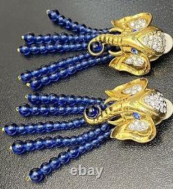 Vtg Elizabeth Taylor Avon Elephant Earrings Rare Designer Signed Runway Jewelry