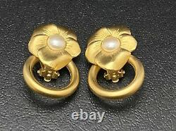 Vtg Givenchy Floral Clip On Earrings Pearl Flower Gold Designer Estate Jewelry
