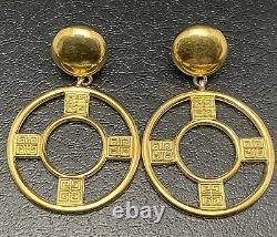Vtg Givenchy Logo 2.5 Knocker Clip On Earrings Dangle Hoop Designer Jewelry