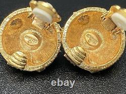 Vtg Graziano Gripoix Cabochon Clip On Earrings Multi Color Designer Jewelry