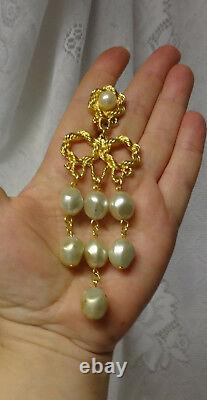 Vtg Haute Couture Runway Long Brioles Tear Drop Pearls Knotted Clip On Earrings