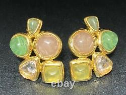 Vtg Joan Rivers Frosted Lucite Gripoix Moghul Clip On Earrings Multi Color Rare