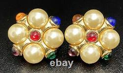 Vtg Kenneth J Lane Gripoix Pearl Clip On Earrings Cabochon Cluster Designer KJL
