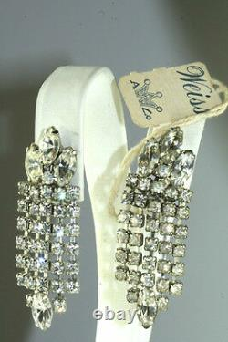 Vtg Long Dangling Weiss Rhinestone Clip Earrings With Original Tag