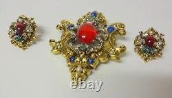 Vtg Signed ART Mogul Cabochon Gripoix Rhinestone Earrings Clip On Pin Brooch Set
