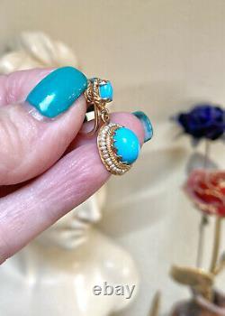 WONDERFUL Vintage 14 Kt. Gold Turquoise & Seed Pearl Ornate Clip Earrings